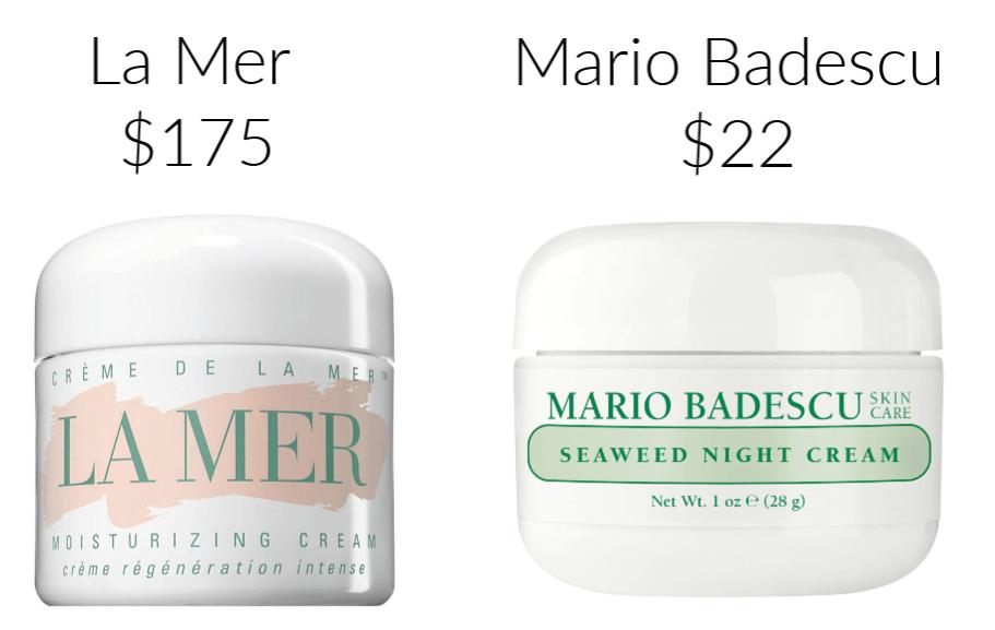 La Mer Mario Badescu drugstore makeup dupes