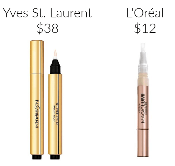 Drugstore Makeup Dupes Loreal Studio Secrets Magic Lumi Highlighter YVES SAINT LAURENT TOUCHE ECLAT Radiance Perfecting Pen