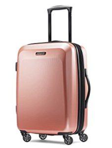 gift ideas for female travelers American Tourister Moonlight Spinner 21, Rose Gold