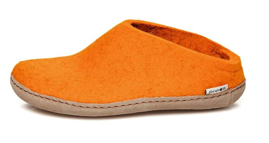 Glerups wool slippers orange open heel