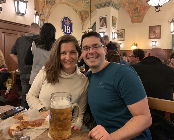 Hofbrauhaus Munich beer and pretzel