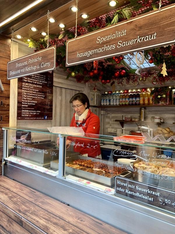 Munich Christmas Market sausage bratwurst stand
