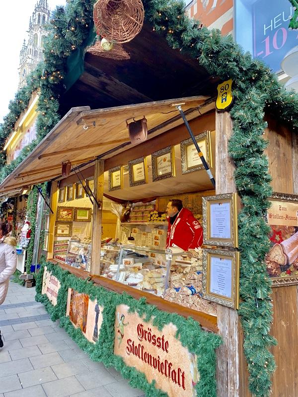 Munich Christmas market food stollen fruit bread