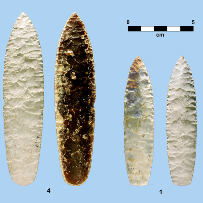 Two Agate Basin points made from Knife River flint. Note the heavy white patination, a characteristic of Knife River Flint