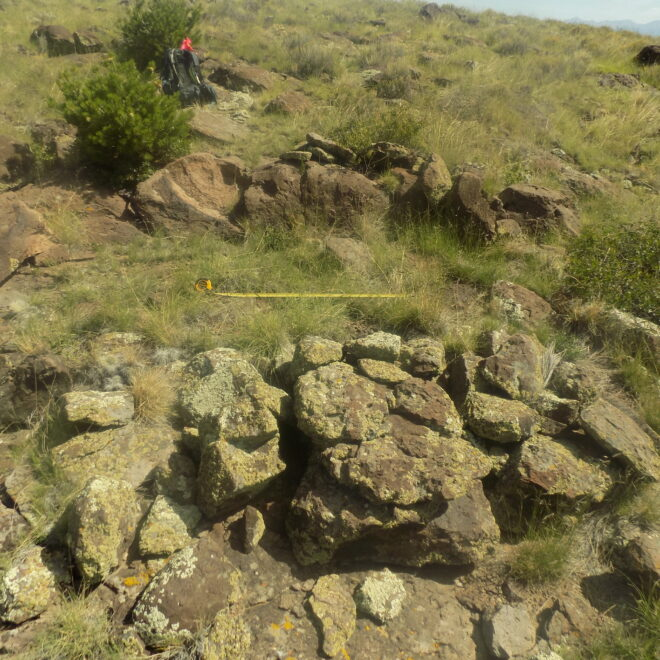 A stone enclosure documented during the survey.