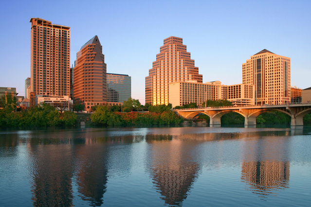 Portion of Austin, Texas skyline and its reflection in water