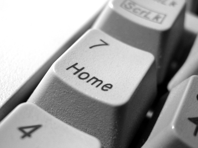 Close-up of Home key on a white keyboard