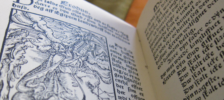Book open to Hans Tausen's Danish translation of the Bible