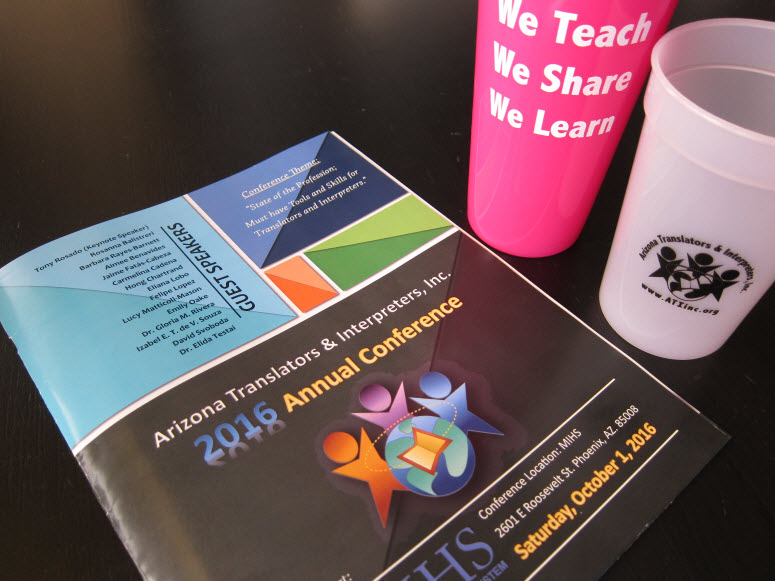 Swag from Arizona Translators & Interpreters Annual Conference 2016