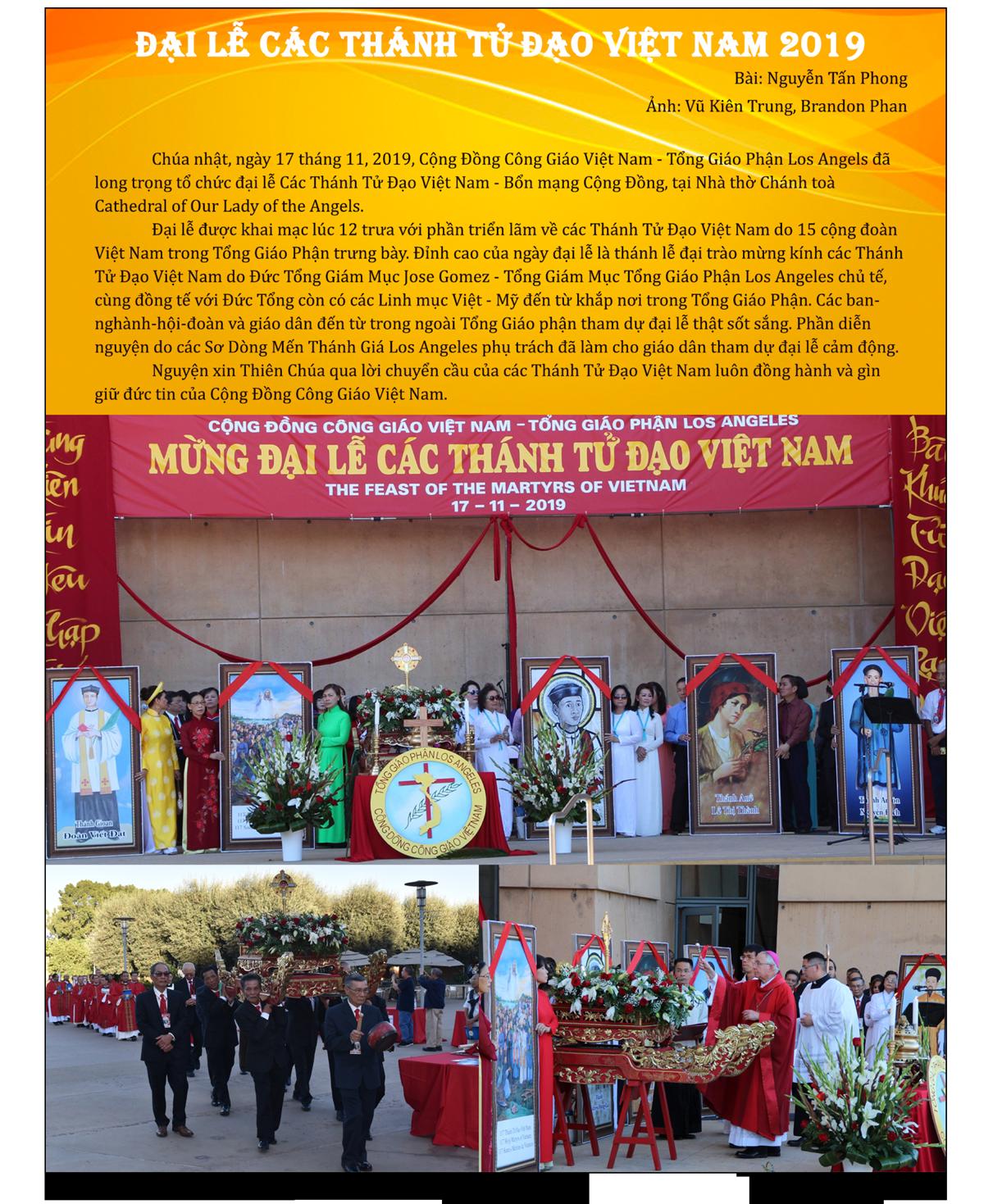 Đại Lễ Các Thánh Tử Đạo Việt Nam 2019