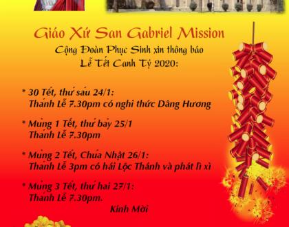 Chương Trình Mừng Xuân Tại Cộng Đoàn Phục Sinh 2020- Giáo Xứ San Gabriel Mission