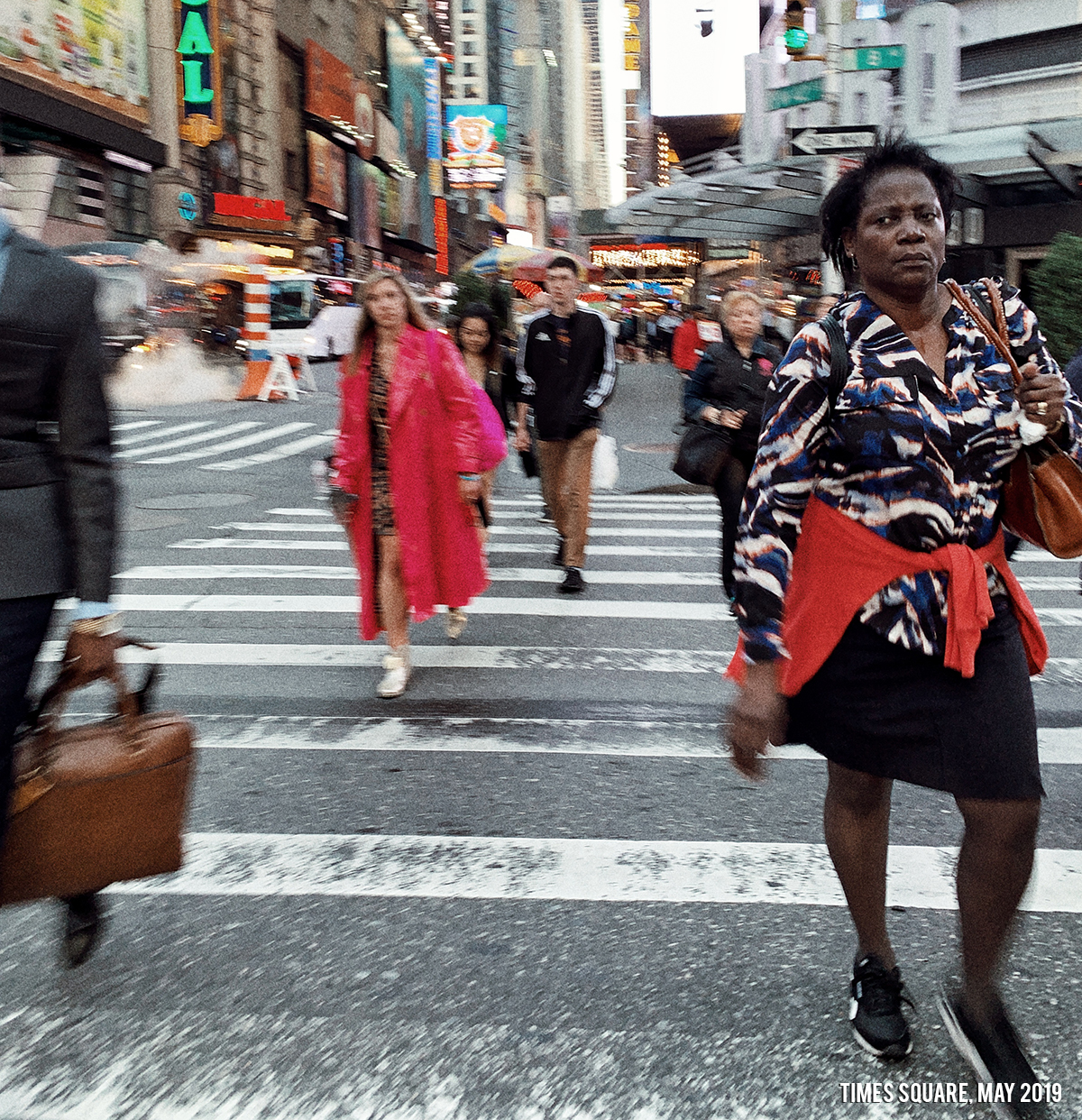 women walking in times square nyc