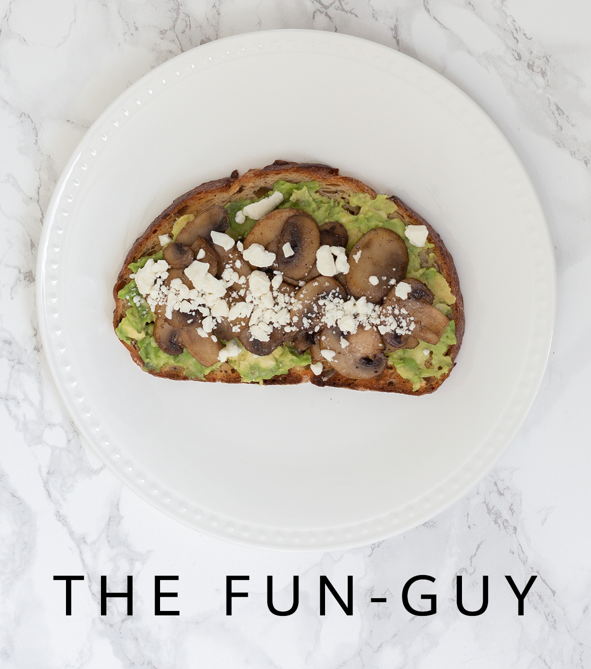 avocado toast with sautéed mushrooms and feta cheese