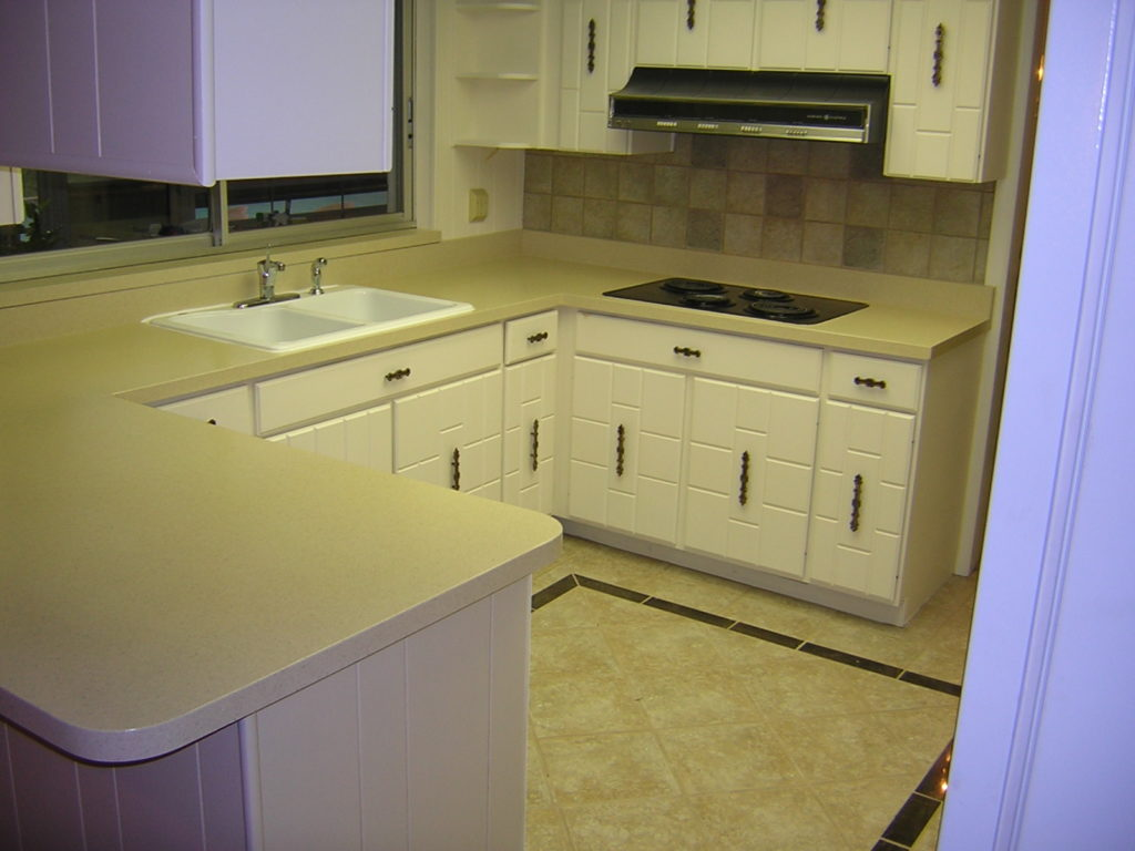 Modern countertop and cabinetry AFTER resurfacing