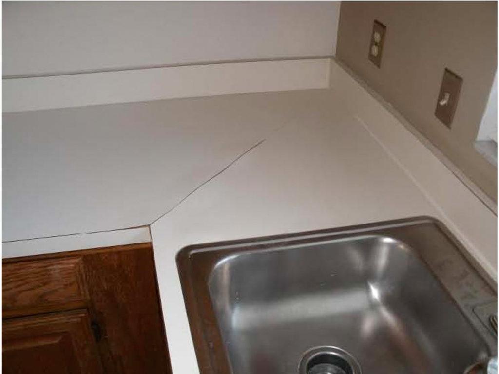 Resurfacing formica damaged countertop, before