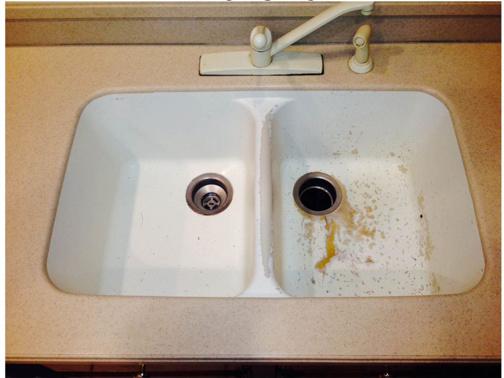 Resurfacing Solid Surface Sink, before