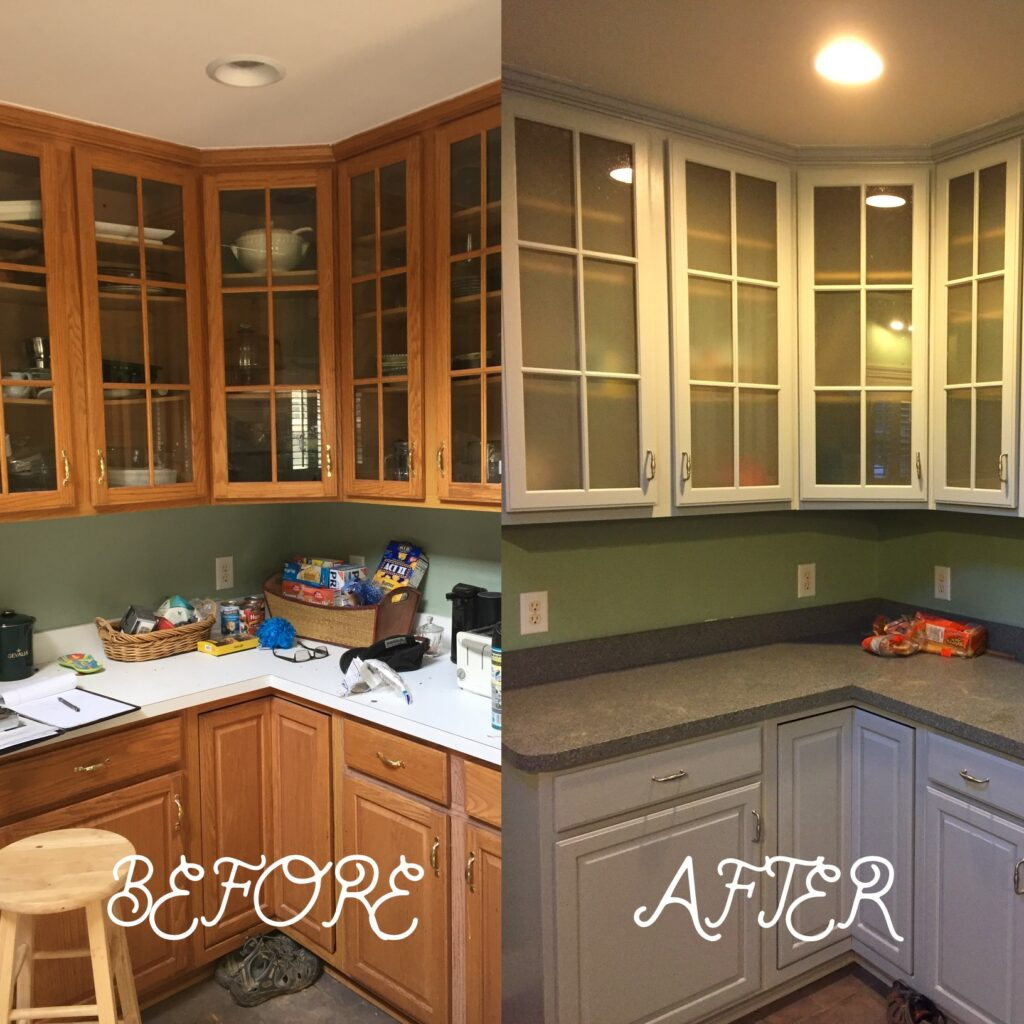 Old oak kitchen restored with contemporary finishes