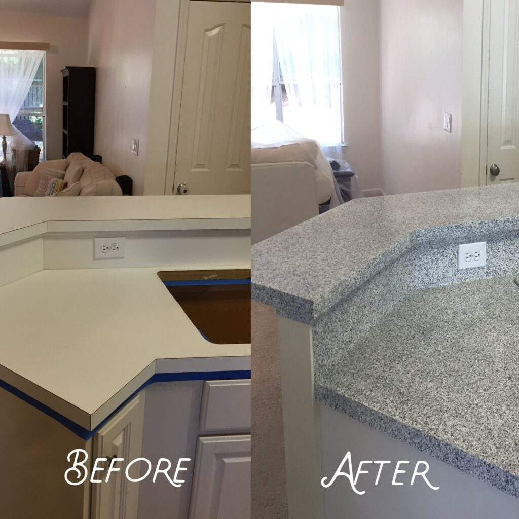 Characterless white laminate countertop needed a facelift