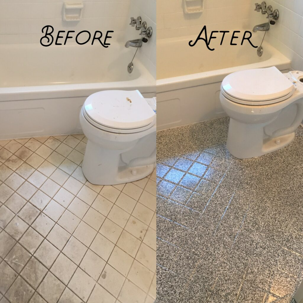 Small floor tiles refinished with multi-stone fleck option and satin finish