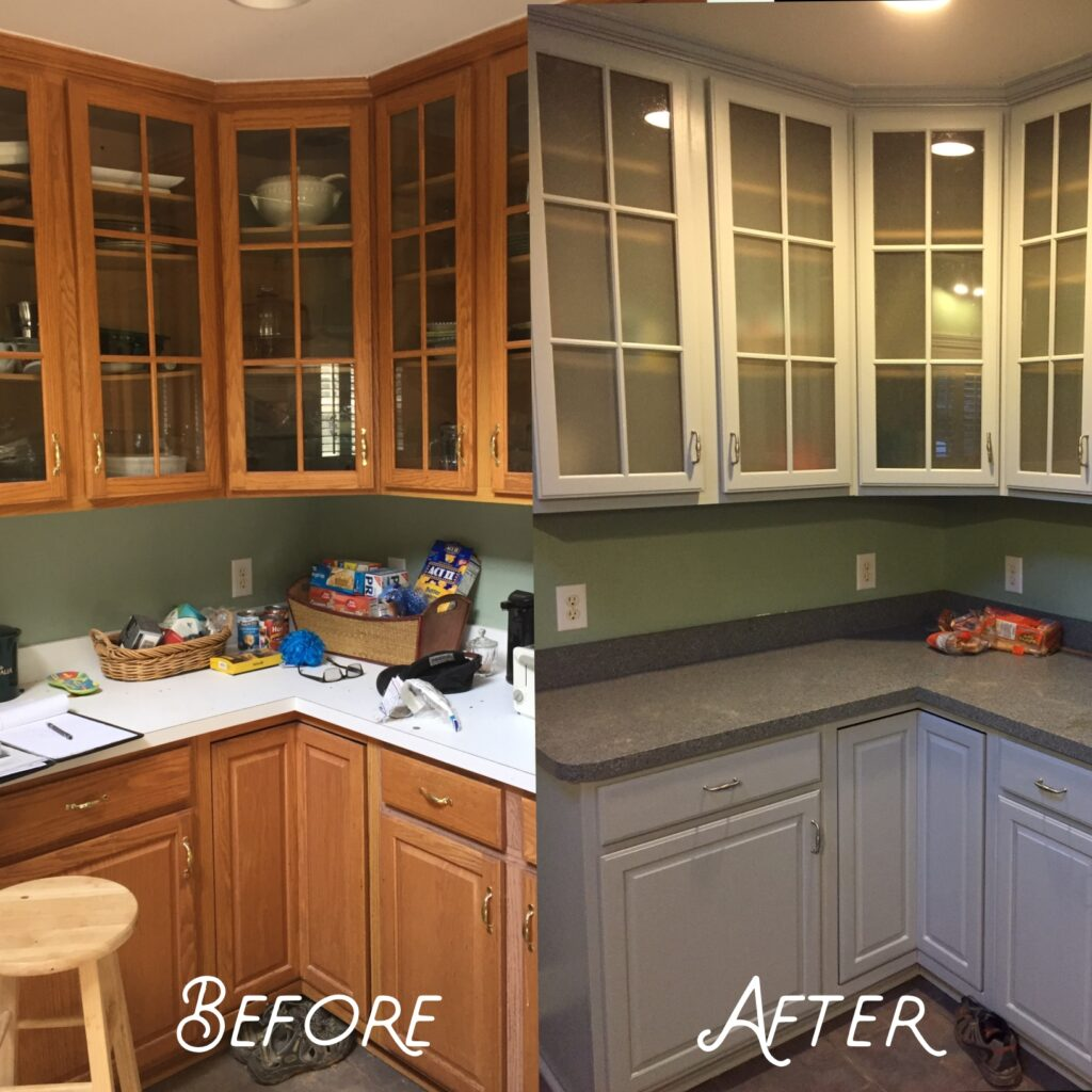 Before and after picture of a kitchen