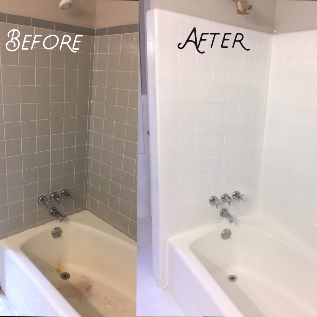 Tub and shower surround resurfaced to white