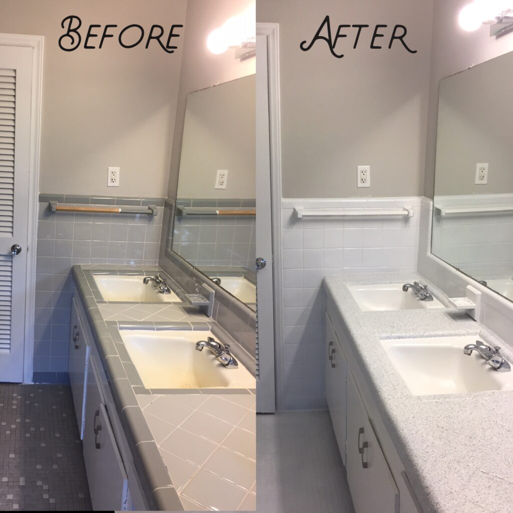 Old tile countertops resurfaced in