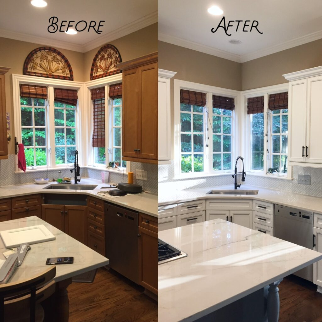 Old kitchen cabinetry resurfaced to look new