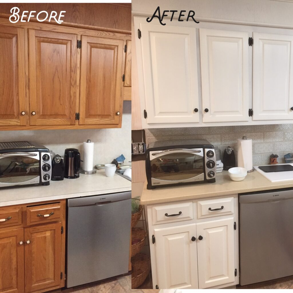 Old kitchen cabinetry refinished in white