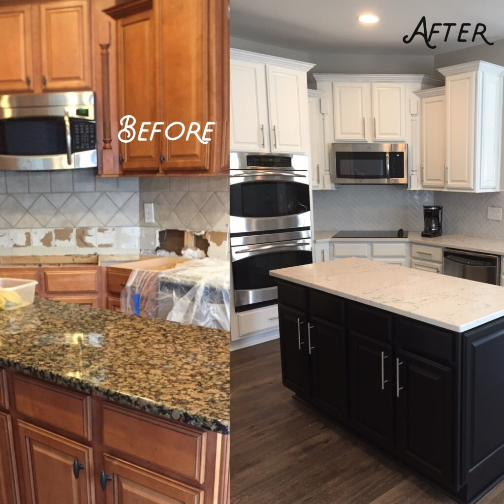 This dated kitchen was updated to a white perimeter, with a dark island