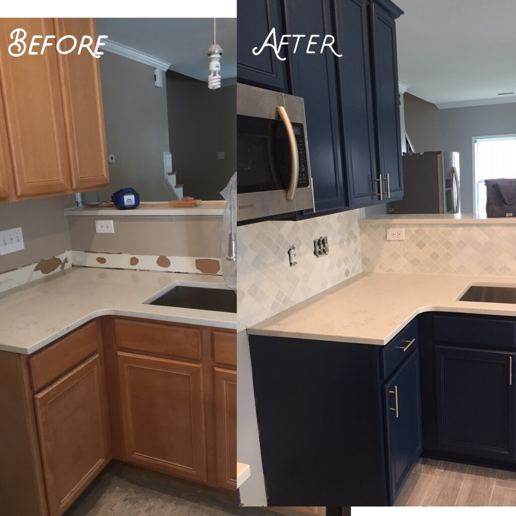 Old wood cabinets resurfaced to navy blue