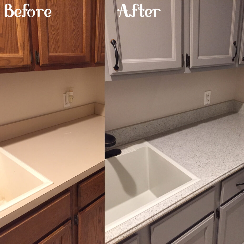 Old dated Laundry cabinetry refinished to a popular grey, countertop had a new edging added, fleck applied, and pour-on epoxy as a topcoat