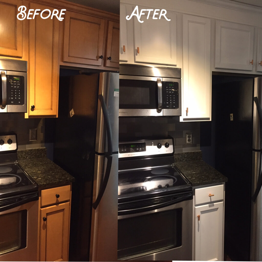 Traditional ample cabinets were refinished to a more contemporary look and feel