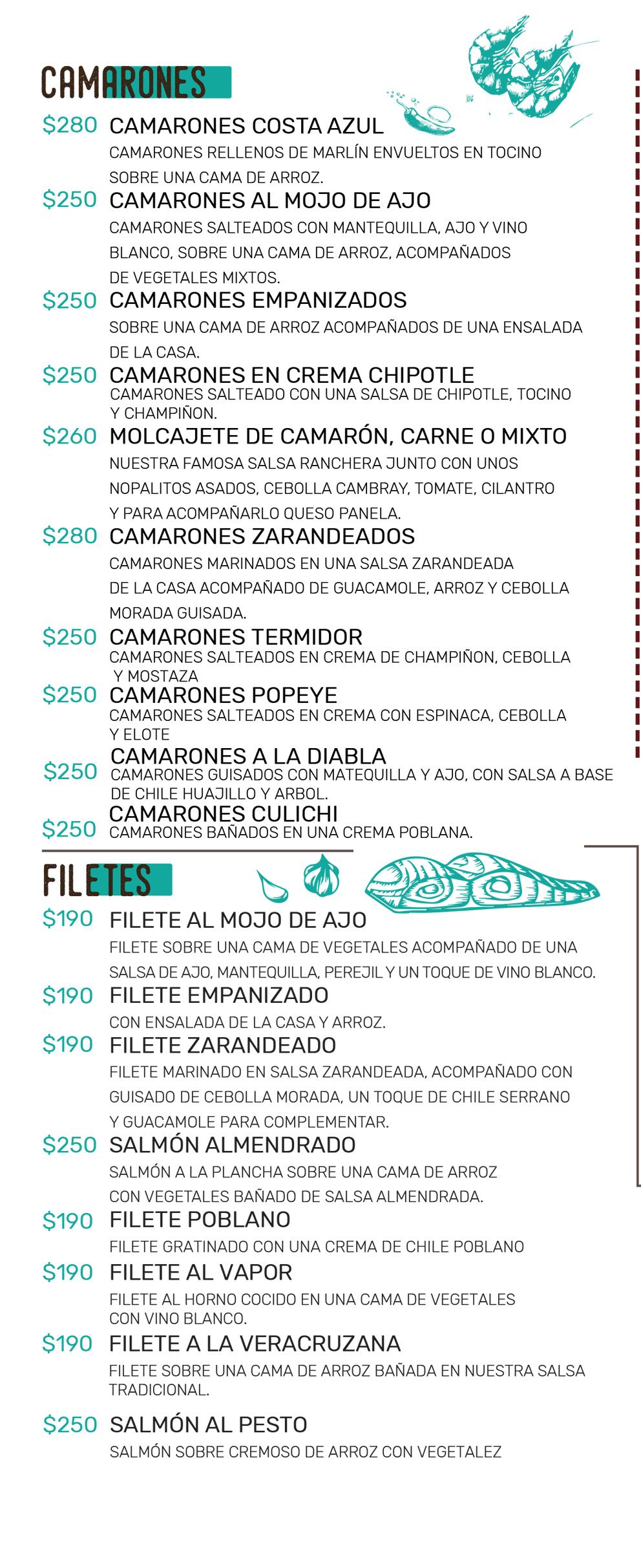 mariscos titos restaurantes menu camarones