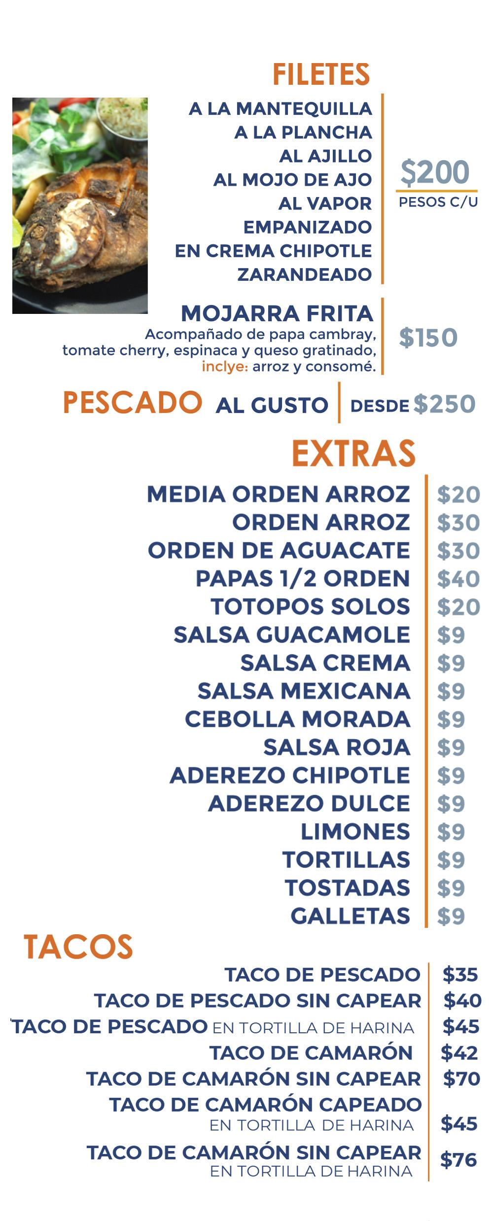filetes mojarra frita y tacos