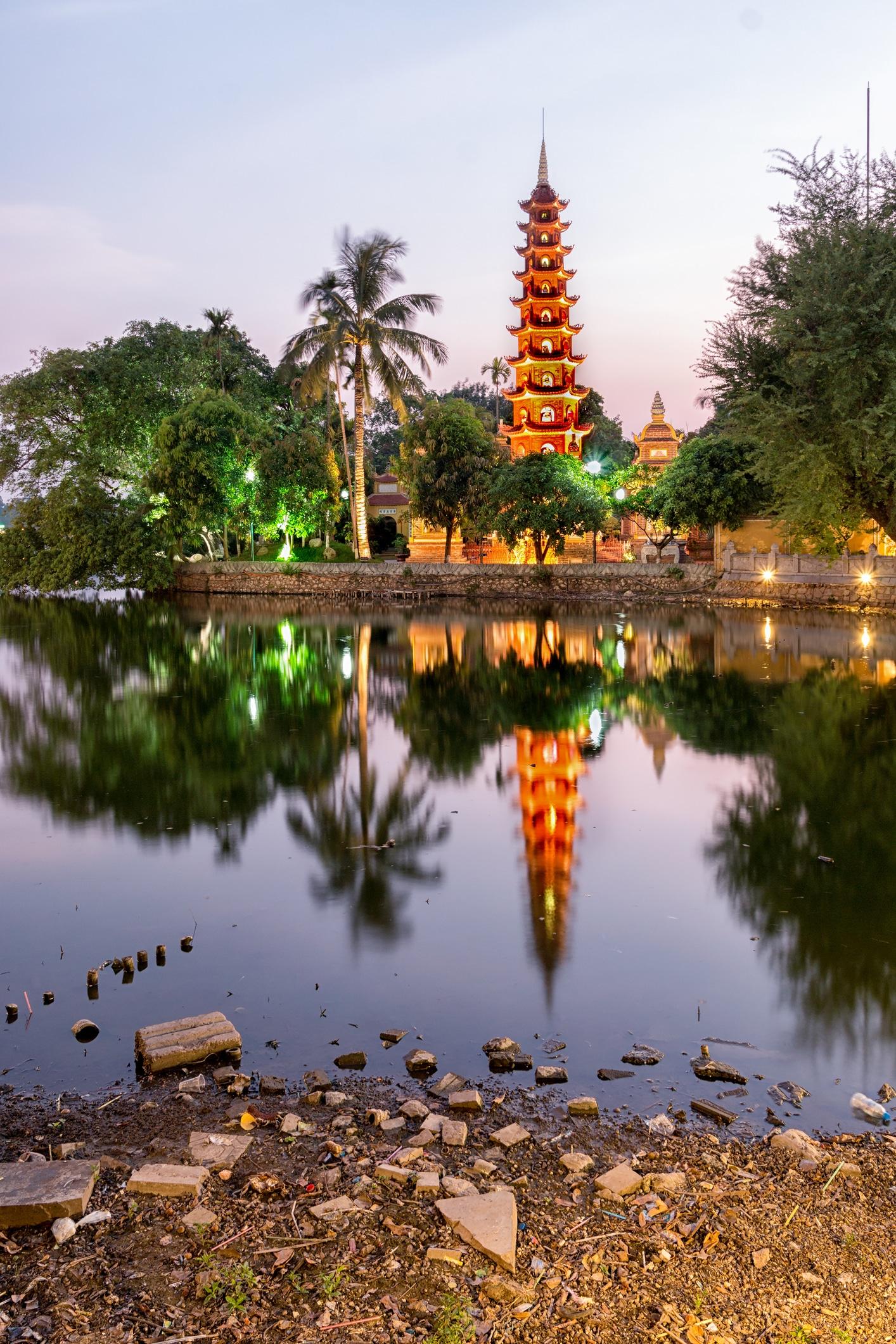 Tran Quoc Pagoda Twilight - West Lake - Hanoi, Vietnam