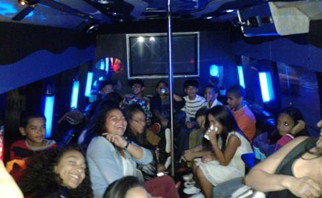 Party group in bus