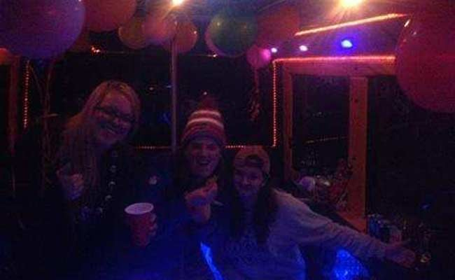 People partying on bus