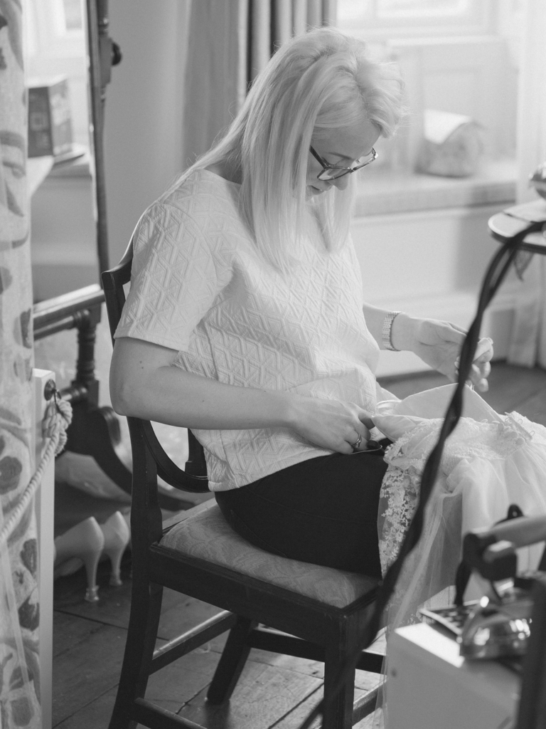 Ami at work on a dress in her studio