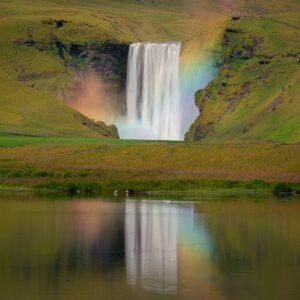 Skogafoss Iceland with rainbow