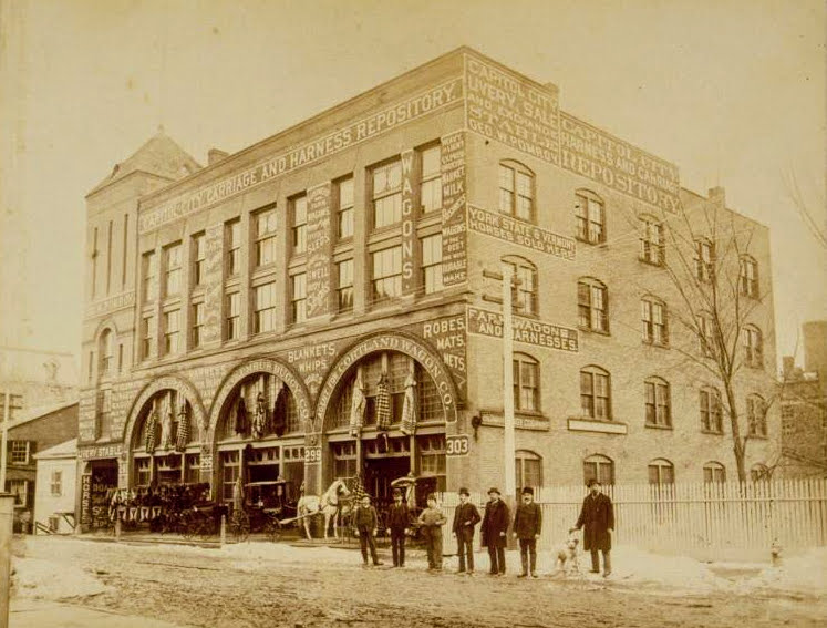 Photograph of the Capitol City Carriage and Harness Repository circa 1895
