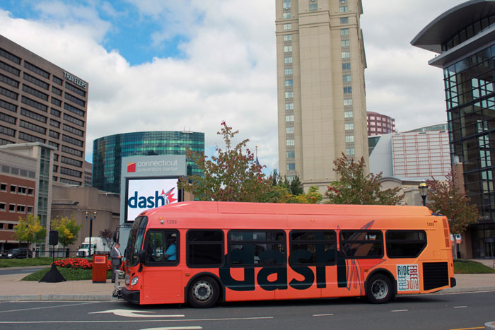 DASH shuttle bus in Downtown Hartford, Connecticut