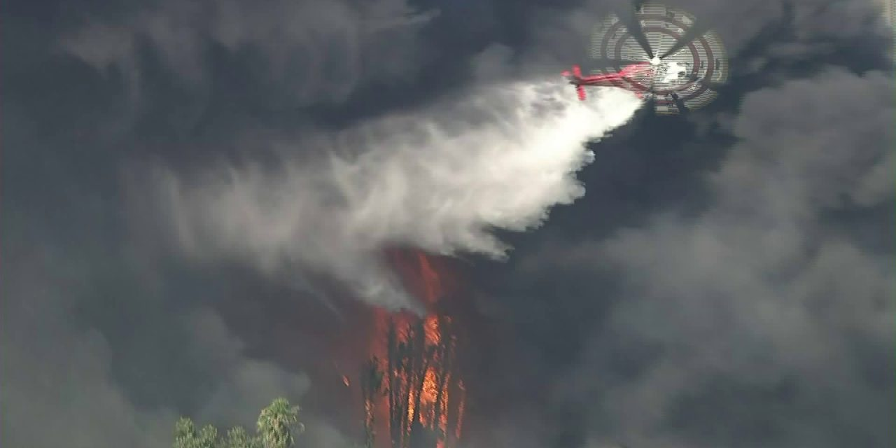 LAFD Air Ops Respond to Large Fire in Homeless Encampment in Sepulveda Basin