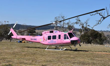 Fundraising Helicopter Busy Fighting Bees Nest Fire as Well as Contributing to Cancer Council