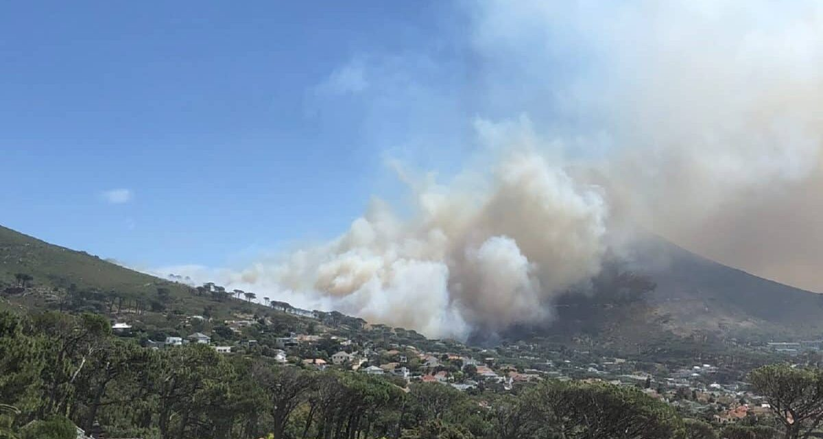 Aerial Firefighters & Ground Crews Fight Table Mountain Fire in South Africa