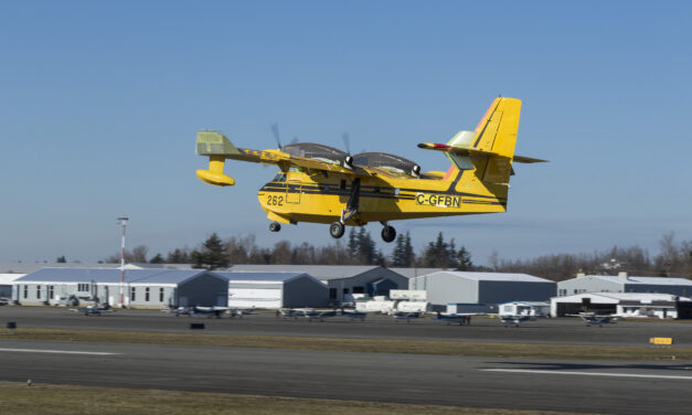 "Longview's First Production CL-415EAF ""Enhanced Aerial Firefighter"" Amphibious Aircraft Takes Inaugural Flight"