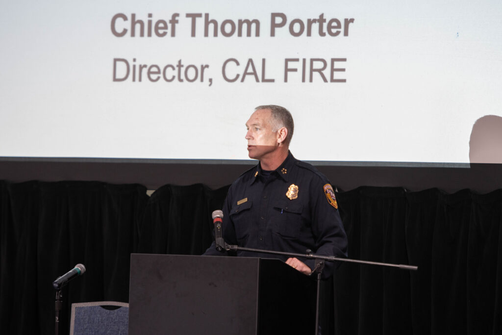 Calfire Chief Thom Porter delivers the opening address of the Aerial Firefighting 2020 show in Sacramento. AerialFire photo.