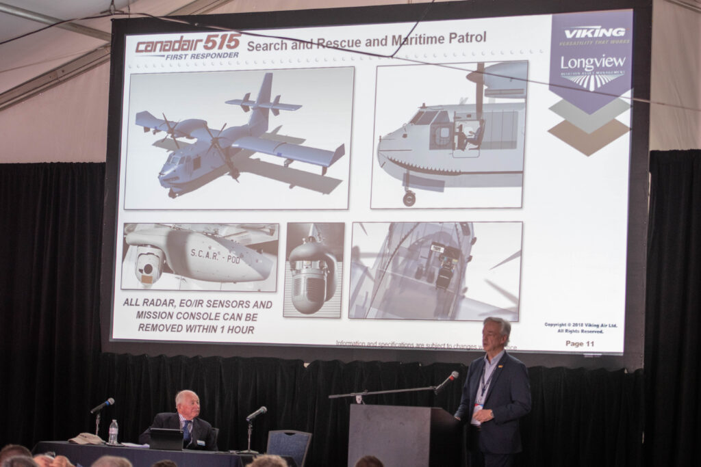Viking's CEO talks about the new Canadair CL-515 benefits during their presentation during the Aerial Firefighting 2020 show in Sacramento.