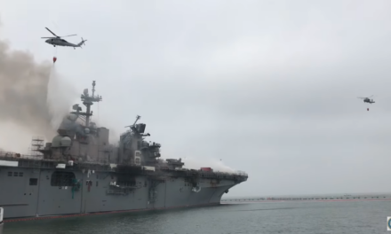 Aerial Firefighters Attack Blaze on USS Bonhomme Richard