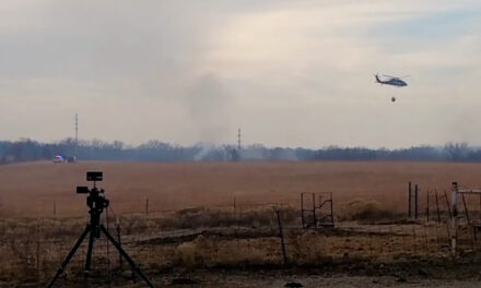 Shawnee County emergency team & air support battle wildfire near Dover