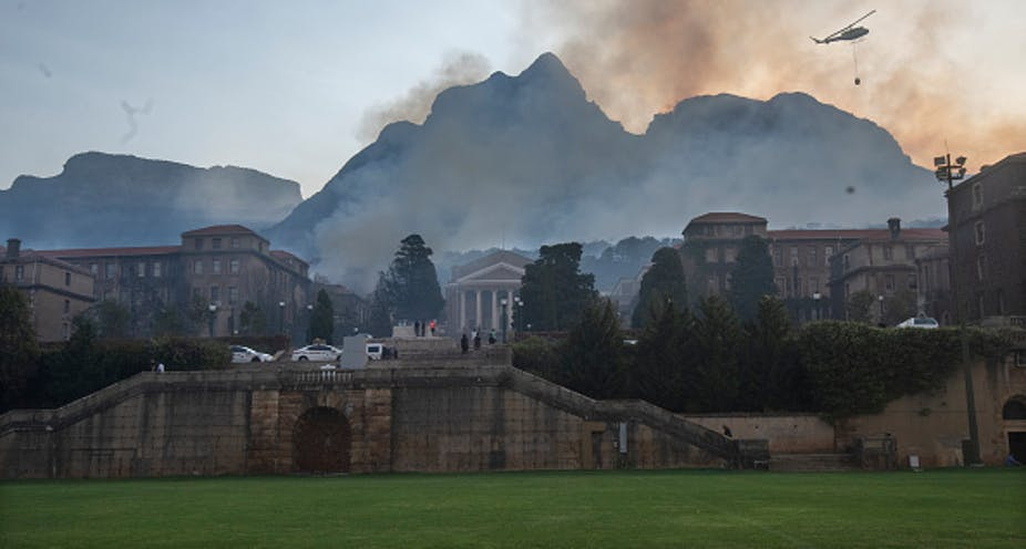 Man detained as 'out of control' Cape Town fires continue to rage